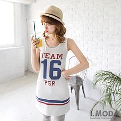 青春俏麗~運動風燙印無袖連身洋裝.3色