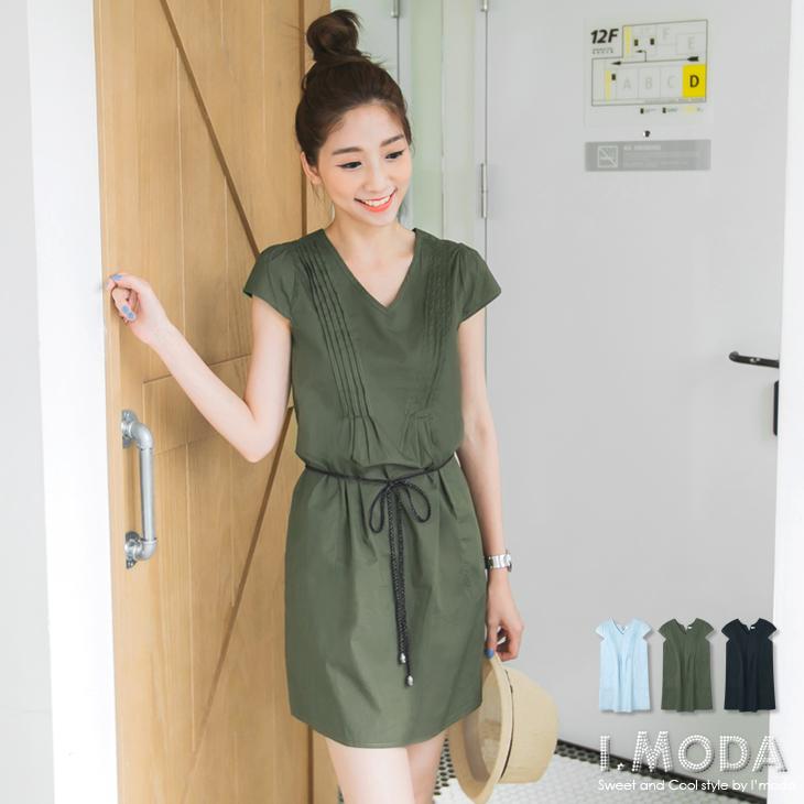 0604新品 自然氣質~V領打摺設計修身洋裝.3色