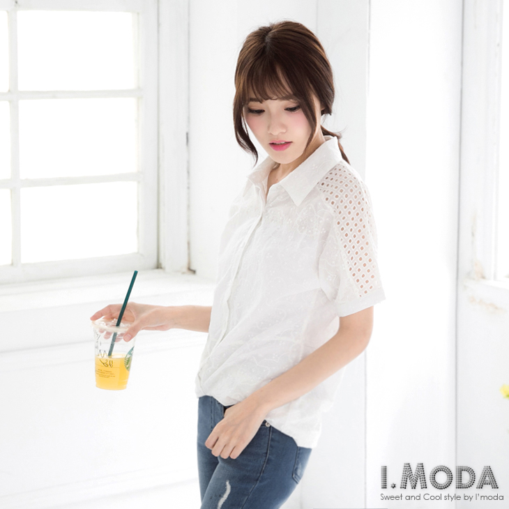 典雅ob橘熊甜心~滿版花朵刺繡鏤空插肩袖長版襯衫.1色