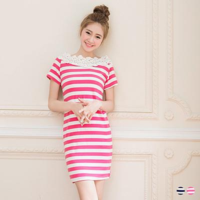 【好感洋裝♥2件68折】完美姿態~條紋拼雕花布蕾絲領口長版上衣.2色