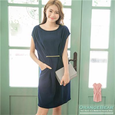 優雅魔力~素色質感面料X金屬腰鍊洋裝.2色