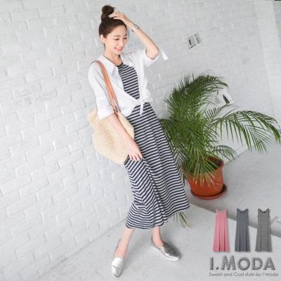 0419新品 休閒絕美~條紋拼接後交叉綁帶造型長洋裝.3色