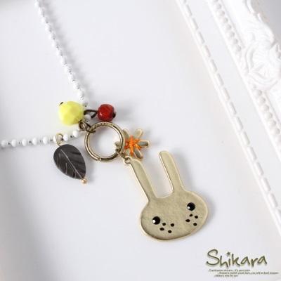 0618新品 可愛童趣~金屬兔兔小花葉子珠珠墜飾項鍊