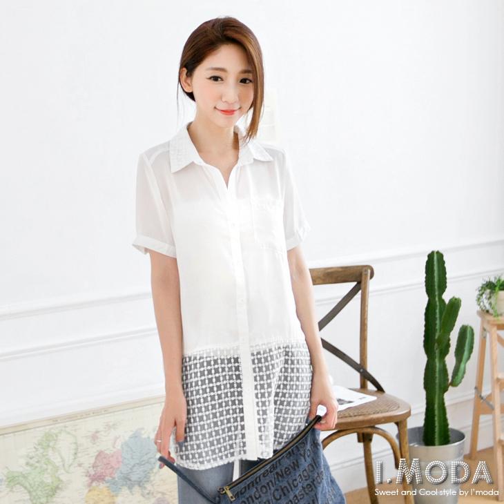 【春夏斷碼?2件59折】浪漫型女~雪紡質感拼接下擺方格網紗長版襯衫.2色