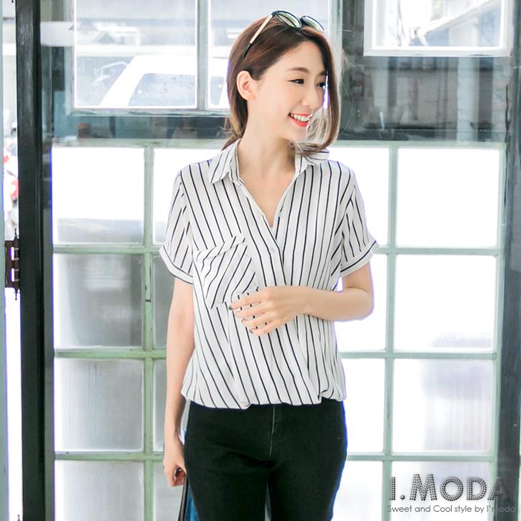 0803新品 輕甜OL~直條紋開襟下擺ob嚴選服飾鬆緊設計上衣.2色