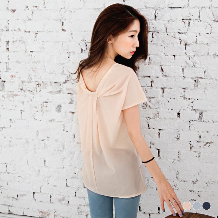 0418新品 上乘美學~純ob服飾評價色造型打摺領口正反兩面穿上衣.3色