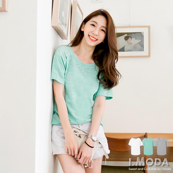 0814新品 休閒美調~圓領素色拼肩蕾絲五分袖T恤.3色
