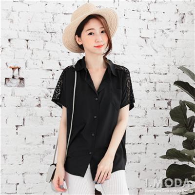 0420新品 微醺OL~質感純色面料拼接花蕾絲襯衫.2色