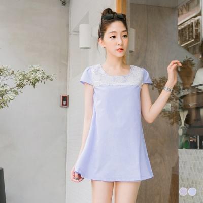 0420新品 優雅名媛~布蕾絲拼肩質感傘擺長版上衣.2色