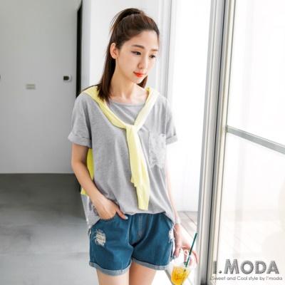 【春夏斷碼♥2件59折】休閒Lady~素色大口袋蕾絲布拼接長版上衣.3色