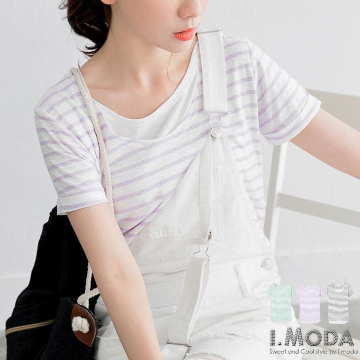 0428新品 輕柔甜意~圓領條紋拼接後短前長假兩件式上衣.3色