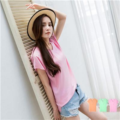 【歡慶母親節♥2件5折】單純注目~V領粉嫩素色質感連袖上衣.3色