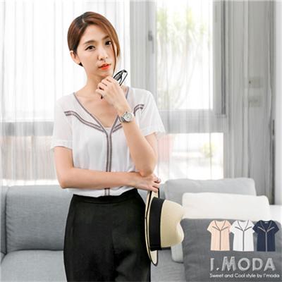 【夏日特賣♥2件5折】自信特色~民俗風織帶mix造型領口上衣.3色