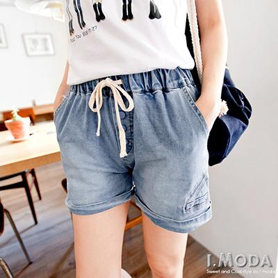 0630新品 輕鬆印象~造型排釦設計刷色抽繩牛仔短褲.2色