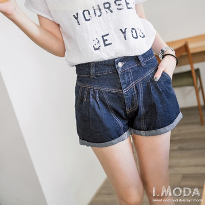 0703新品 窈窕身段~打摺造型設計牛仔高腰短褲