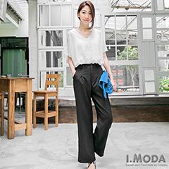 0411新品 時尚主打~嚴選西裝材質打摺黑色寬長褲