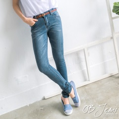 0629新品 美腿風範~抓皺刷色立體剪裁翹臀窄管牛仔褲