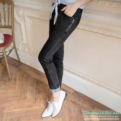 0615新品 個性美型~黑色彈性牛仔側拉鍊裝飾長褲