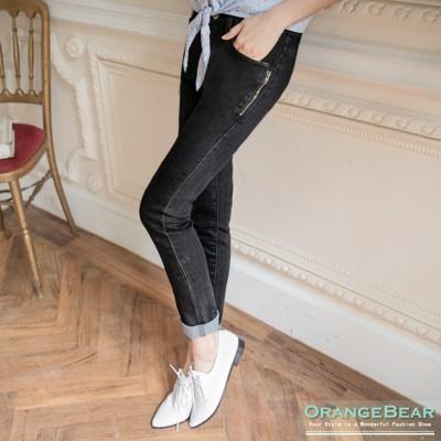 個性美型~黑色彈性牛仔側拉鍊裝飾長褲