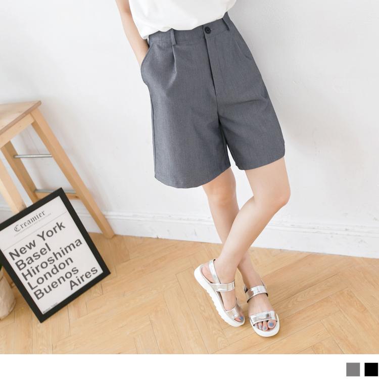 0412新品 流行指標~嚴選寬版西裝材質中長五分褲.2色