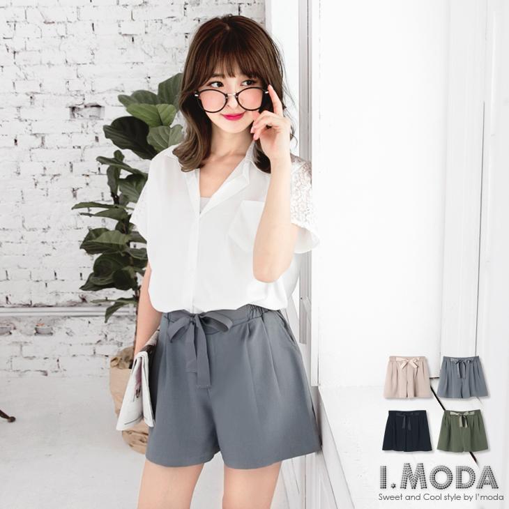 0911新品 浪漫女孩~質感緞帶拼接純色打摺短ob精選褲.4色