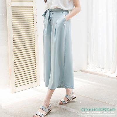 0819新品 時尚氛圍~附綁帶素色質感打褶設計寬褲.3色