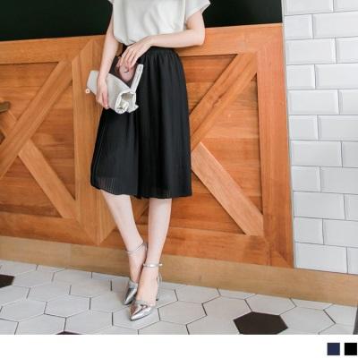 0308新品 時髦品味~純色百摺雪紡造型及膝寬褲.2色