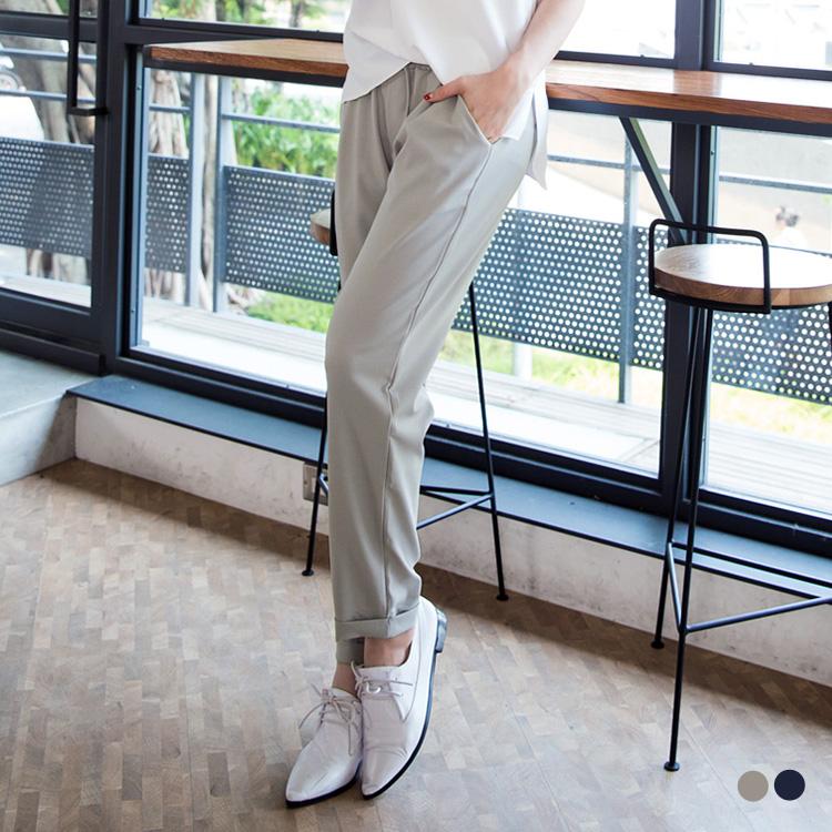 0805新品 雅緻百搭~素色obdesign tw product微彈質感面料鬆緊抽繩長褲.2色