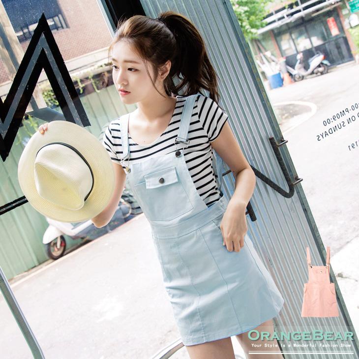 0916新品 粉嫩甜蜜~洗水ob嚴選內搭褲質感面料吊帶短裙.2色