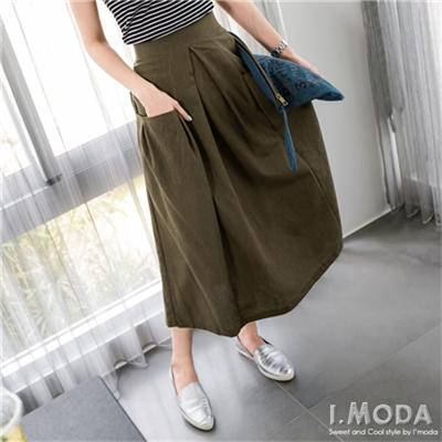 0708新品 悠閒型女~純色素面口袋造型打摺長裙.2色