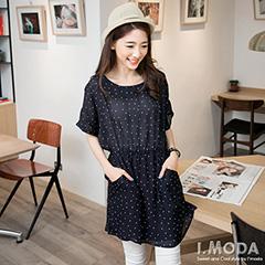 0610新品 微透品味~滿版白點/白紋雪紡紗五分袖洋裝.2色