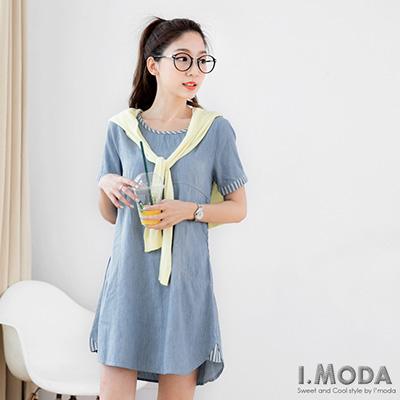 0330新品 活力女孩~牛仔面料拼接條紋領口後釦式洋裝.2色