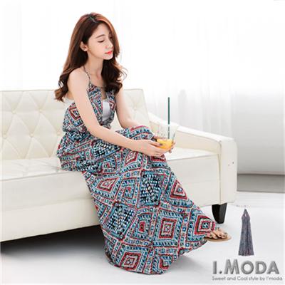 0618新品 驚艷全場~絢麗幾何多變綁帶造型長洋裝.2色
