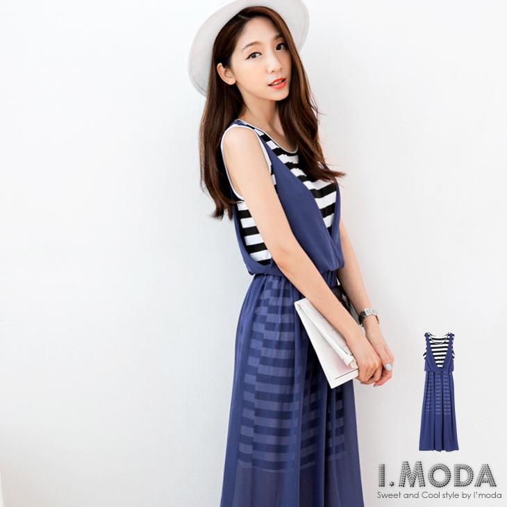 0331新品 自信俏妞~條紋拼接雪紡假兩件ob棉條特價式無袖長洋裝.2色