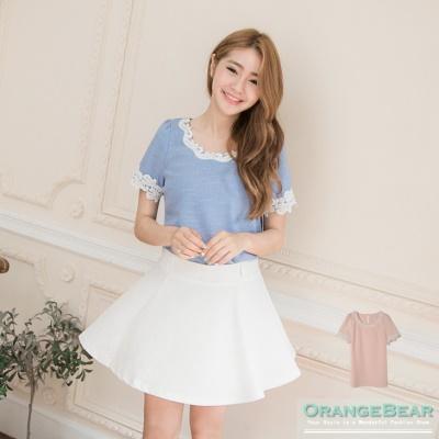 0617新品 優雅粉嫩~質感面料拼接雕花布蕾絲花邊長版上衣.2色