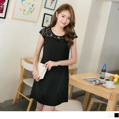 0523新品 浪漫動人~質感面料拼接鏤空雕花蕾絲洋裝.2色
