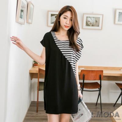 0618新品 亮眼印象~斜肩條紋造型拼寬領洋裝.2色
