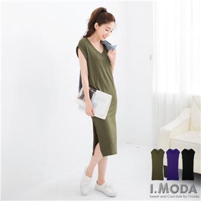 0618新品 美型架式~素面彈力修身反折袖連身長裙.3色