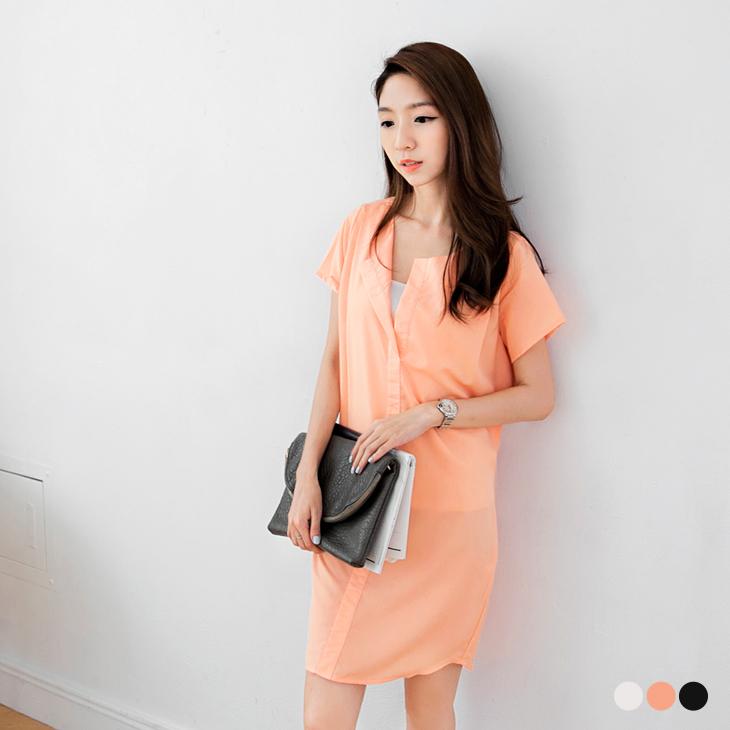 0820新品 女伶品味~附綁帶純色開襟翻領造型洋裝.3色