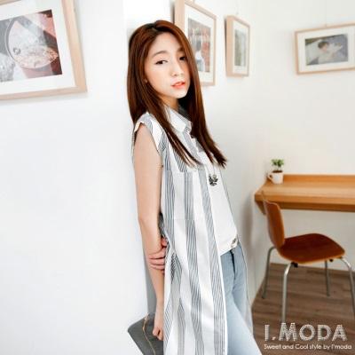 【夏日特賣♥2件5折】知性蔓延~附綁帶直條紋排釦襯衫領無袖洋裝.2色