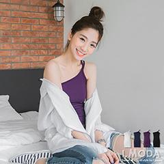 0618新品輕盈姿態~單邊肩帶牛奶絲合身小可愛/背心.4色