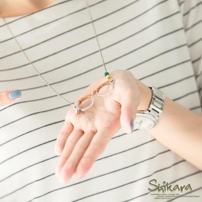 0618新品 文青魅力~復古小眼鏡造型珠飾皮革綴項鍊.2色