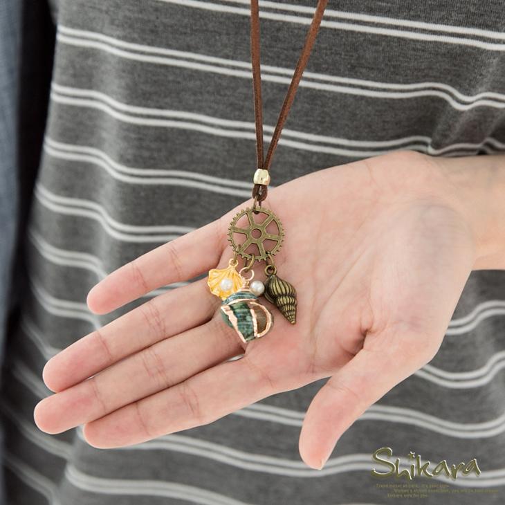 風格呈現~復古質感貝殼珍珠飾皮繩項鍊