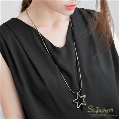 0618新品【特價款】俐落個性~層次星星造型金屬光感項鍊.1色