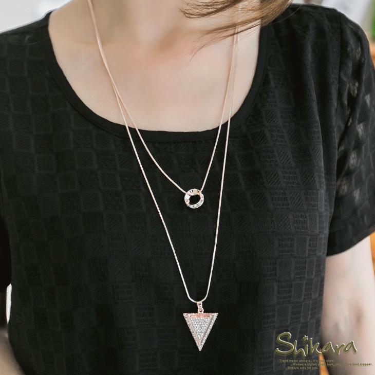 【特價款】高雅層次~水鑽飾立體倒ob design三角形雙圈項鍊