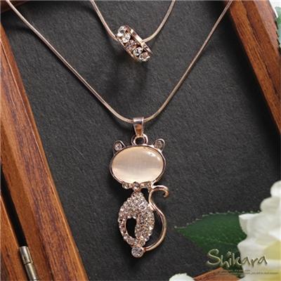 0618新品【特價款】甜美氣質~橢圓型寶石點綴小貓咪雙圈項鍊.1色