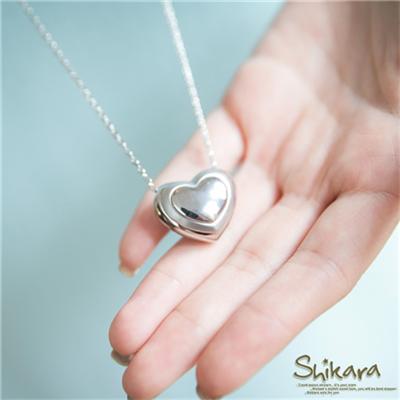 0617新品 雅緻風格~金屬立體愛心墬飾項鍊