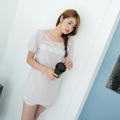 【夏日特賣♥2件5折】優雅格調~質感面料X雕花鏤空布蕾絲長版上衣.2色