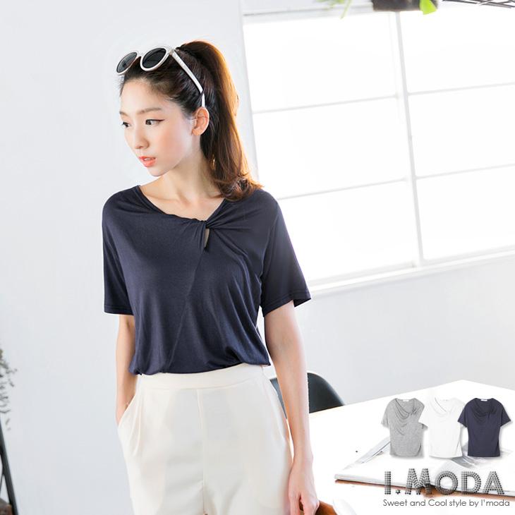 0418新品 別具風格~素色斜面拼接設計感領口短袖上衣.3色