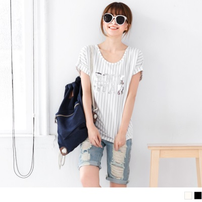 【春夏斷碼♥2件59折】強烈印象~直條紋X金屬光澤貼片反折袖上衣.2色